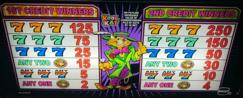 Kool Kat by IGT lower pay table