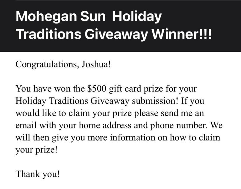 Mohegan Sun contest winner