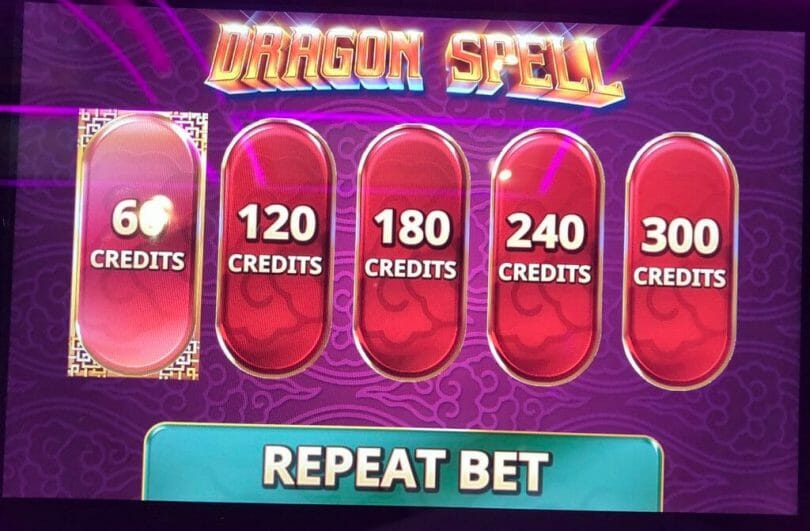 Dragon Spell by IGT bet panel