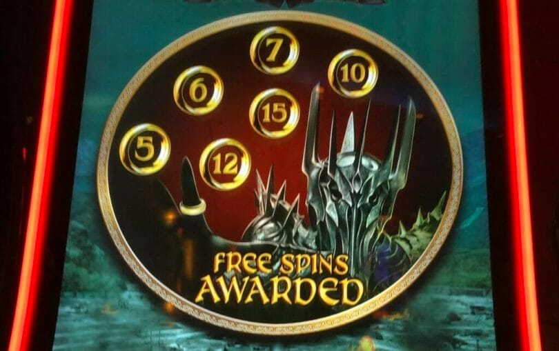 Lord of the Rings: Rule Them All by Scientific Games free game spin count selection