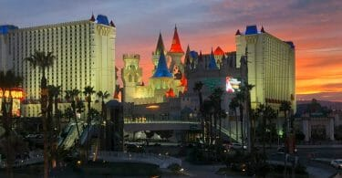 Excalibur Las Vegas from Tropicana foot bridge