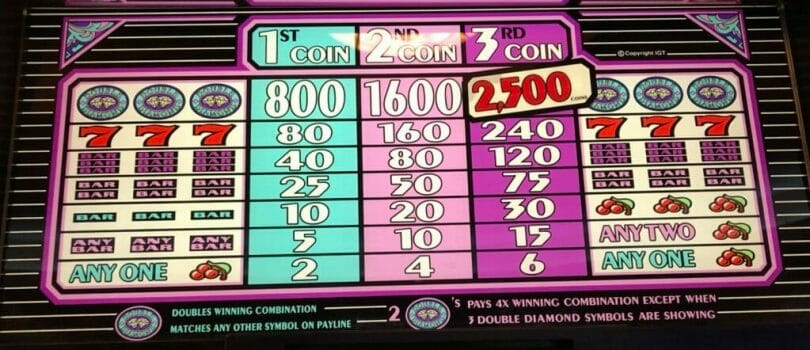 Double Diamond by IGT pay table