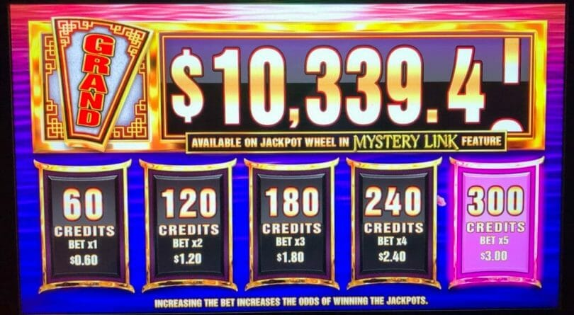 Wheel of Fortune Mystery Link by IGT bet panel