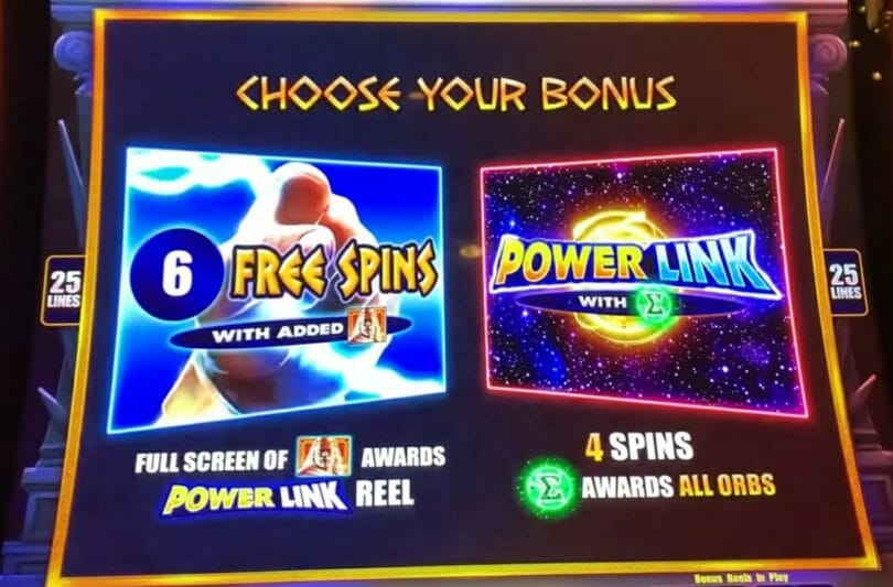 Zeus Power Link by Scientific Games free spins choice