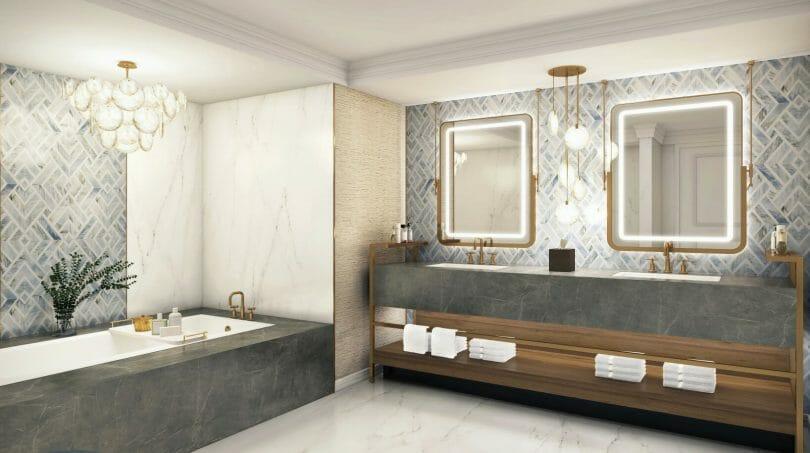 Emperor Suite Ocean Tower Bathroom Rendering