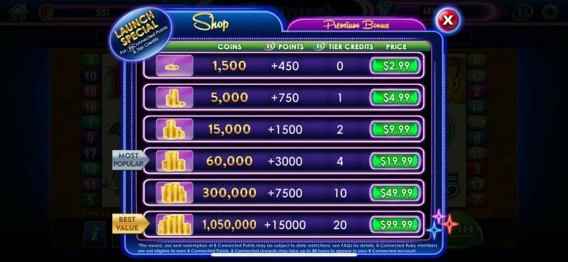 Stardust Social Casino purchase screen