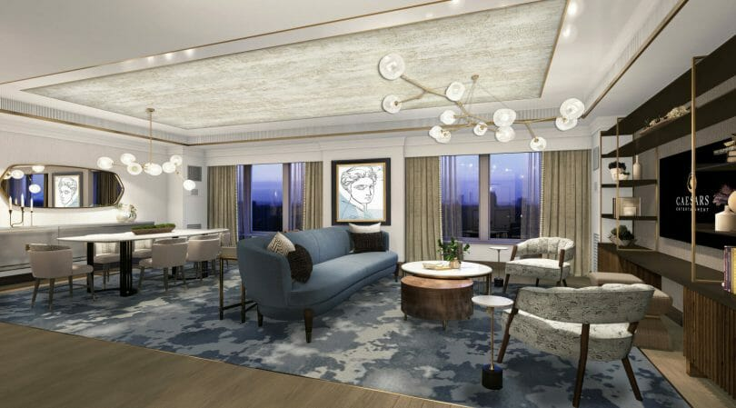 Ocean Tower Emperor Suite Living Room Rendering