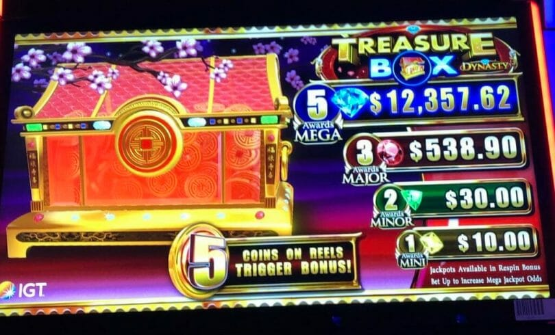 Treasure Box Dynasty by IGT bonus meter and progressives