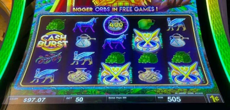 Cash Burst Force of Babylon by Scientific Games super orb free games trigger