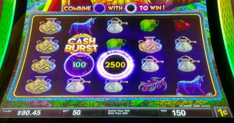 Cash Burst Force of Babylon by Scientific Games 50x Cash Burst win