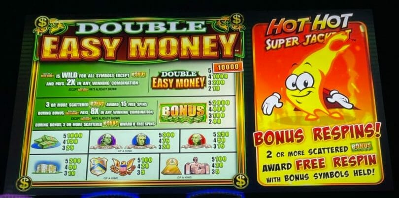 Hot Hot Super Jackpot Double Easy Money by WMS pay table