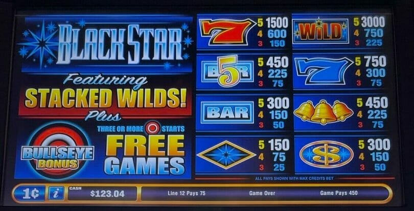 Black Star by Bally pay table