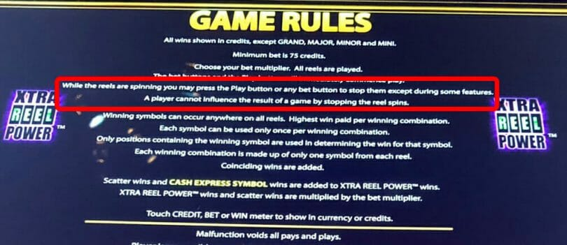 Aristocrat pay table rules
