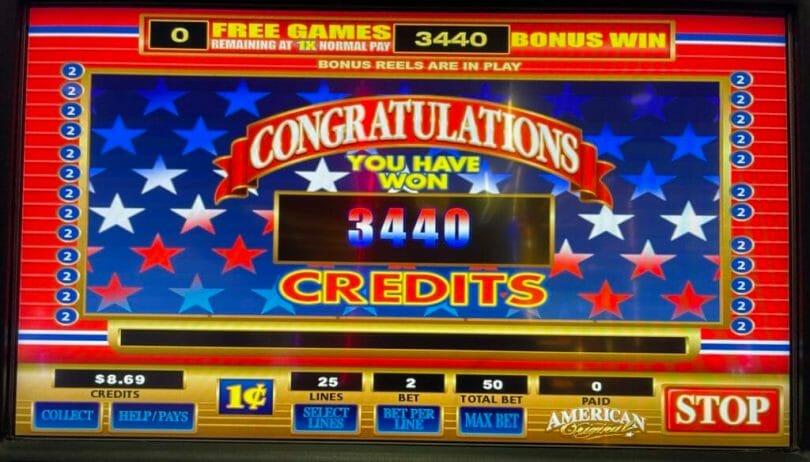 American Original by Bally 100 spin bonus outcome