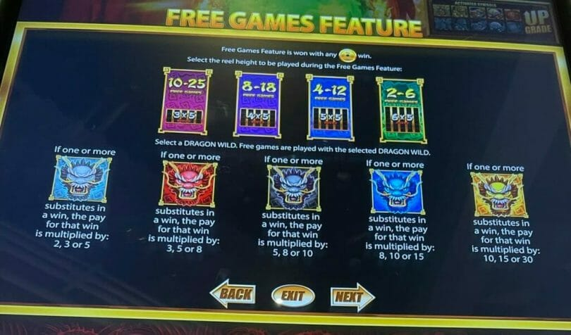 5 Dragons Rising Jackpots by Aristocrat free games feature