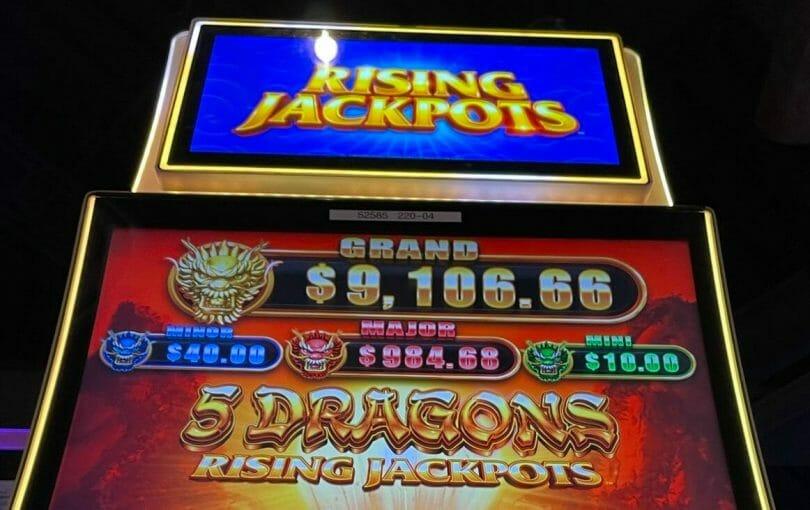 5 Dragons Rising Jackpots by Aristocrat progressives and top screen
