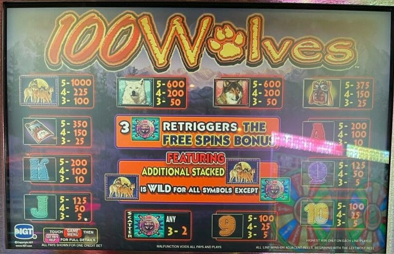 100 Wolves by IGT pay table