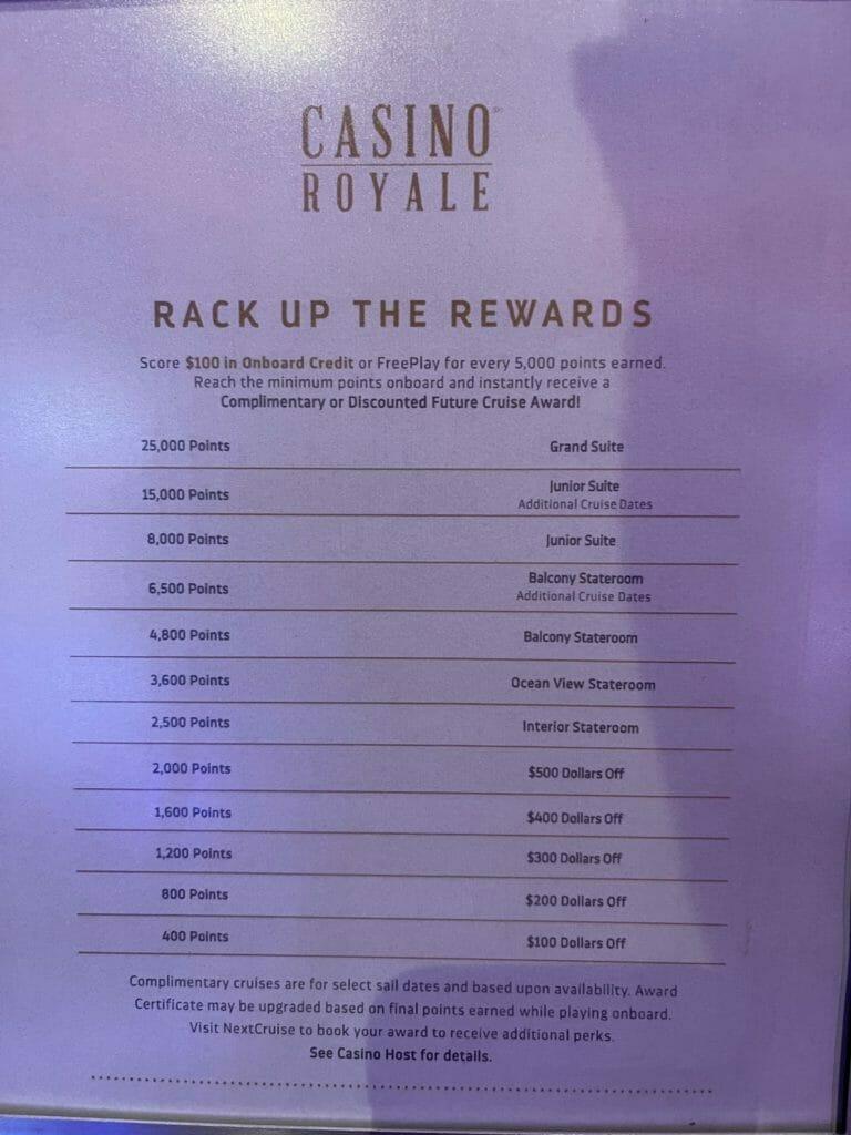 Royal Caribbean Casino Royale casino trip tier targets