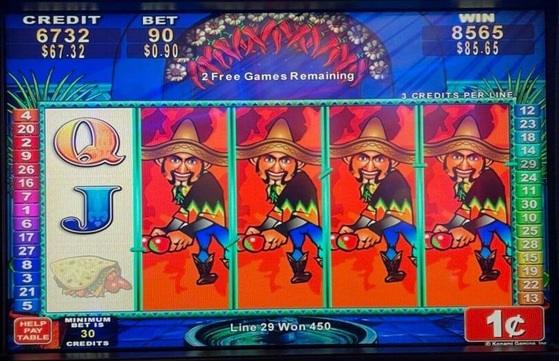 Jumpin Jalapenos by Konami bonus round win