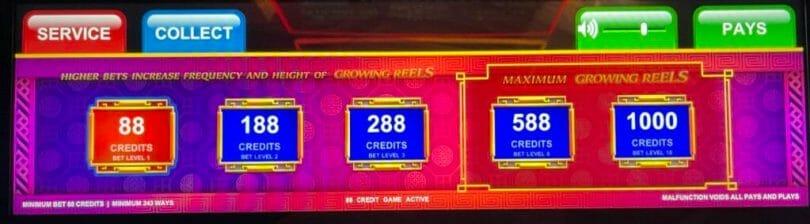 Dancing Drums Prosperity by Scientific Games bet panel