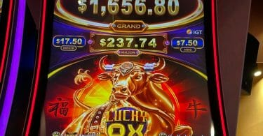 Lucky Ox by IGT logo and jackpots